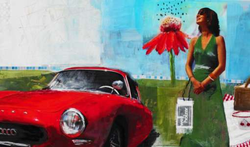 Vintage Collagenmalerei - La Dolce Vita